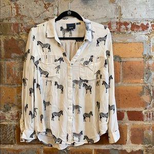 Anthro zebra blouse